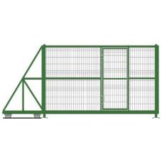 Ворота откатные с калиткой сетчатые 3D/2D 2.0м L=3.0м