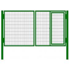 Ворота распашные с калиткой сетчатые 3D 2.0м L=3.0м
